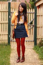 red voodoo tights - white - blue Valleygirl skirt