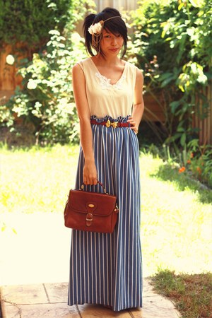 brick red asos belt - brown vintage bag - blue maxi robot ninjas skirt
