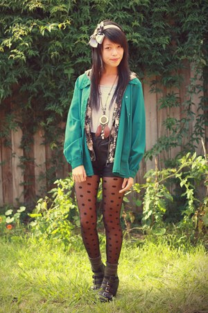 teal vintage blouse - black leather robot ninjas shorts