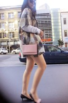 black Prada shoes - tan simple cut c&a coat - light pink Prada bag