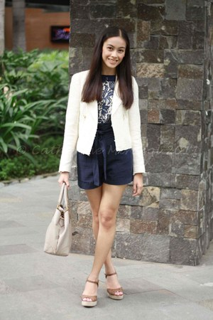 cream Zara blazer - navy asos top - brown Call it Spring wedges