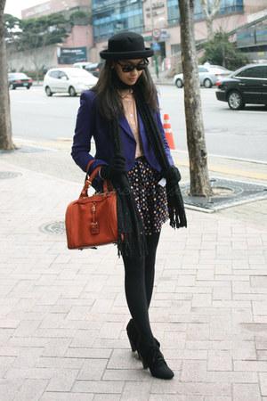 black Zara boots - black Topshop hat - tawny Chloe bag - coral Topshop skirt