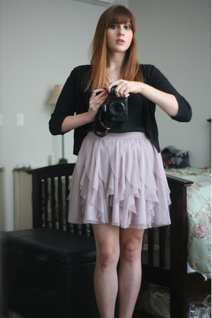 light pink Lauren Conrad skirt - black Trina Turk top