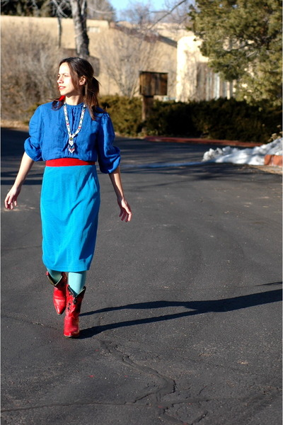 blue blouse - red cowgirl boots - light blue tights - red belt - turquoise skirt