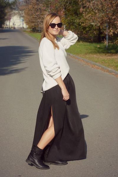 Zara boots - sweater - socks - H&M sunglasses - Zara skirt