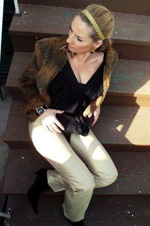 faux fur jacket - INVUU LONDON bag - gold pants