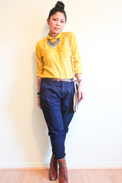 tawny lace up rag & bone boots - gold Moda shirt - navy Zara pants
