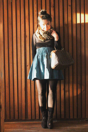 turquoise blue high waisted H&M skirt - mustard leopard print H&M scarf