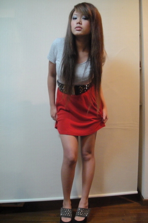 gray shirt - red dress - black H&M belt - black Egoist jacket