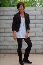 Ralph Lauren blazer - American Apparel shirt - vintage boots - H&M tights - fore