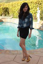 yellow Jimmy Choo shoes - blue Forever 21 shirt - black American Apparel skirt