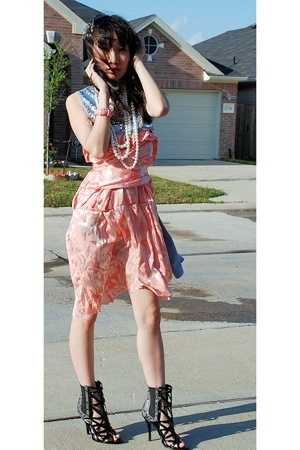 vintage dress - DIY top - wild diva shoes