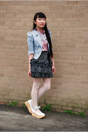 white RTBU shoes - heather gray Ebay blazer - black Forever 21 skirt - light pin