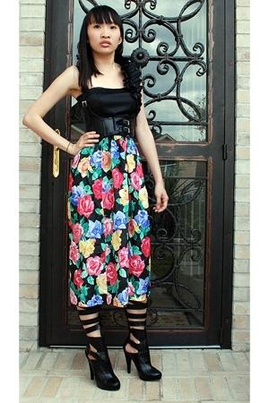 asos top - 579 belt - Secondhand skirt - michael antonio shoes
