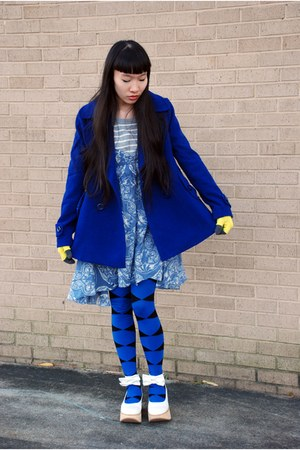 white RTBU shoes - sky blue Marshalls dress - blue Forever 21 coat - periwinkle