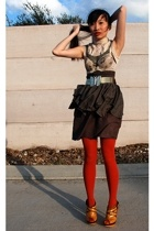 blouse - bra - dress - skirt - Forever21 tights - qupid deluxe shoes