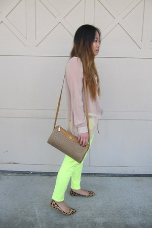 neon Express jeans - vintage Gucci bag - asymmetrical H&amp;M blouse