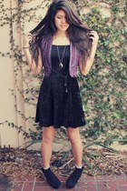 black velvet black  dress - purple made in india vest - black Old Navy wedges