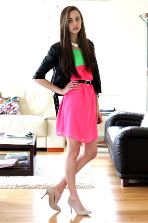 hot pink inlovewithfashion dress - beige OASAP heels