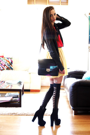black OASAP boots - black Loef bag - black thigh high OASAP socks