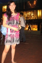 Topshop dress - balenciaga purse - pedder red shoes