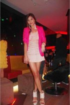 hot pink love mitzhi blazer - eggshell lace lingerie Topshop dress