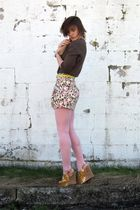 brown Old Navy cardigan - Forever 21 skirt - pink wal-mart tights - yellow Steve