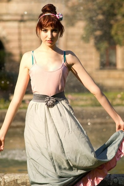 silver vintage skirt - light pink unknown top - salmon H&M sandals