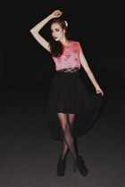 black suede boots - black tights - hot pink scull print t-shirt