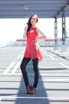 coral cut-out top - black faux leather leggings - red sheer rare london shirt