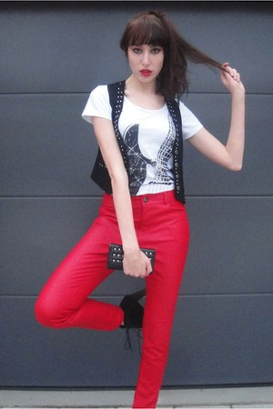 red fake leather unknown pants - black lita boots - black studded unknown purse
