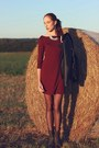 Brown-warm-new-look-boots-maroon-1982-dress