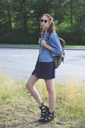 olive green backpack Estarer bag - sky blue denim second hand jacket