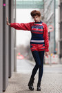 navy WP sweater - black punk boots - navy tights - red faux leather WP shorts