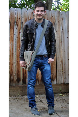 olive green Urban Outfitters bag - charcoal gray Toms shoes - blue Levis jeans