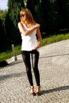 black H&M leggings - white no name top - black Cristfoli shoes - black ydeltuyt