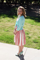 white Anthropologie dress - blue Urban Outfitters shoes - blue JCrew sweater