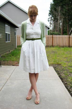 white Anthropologie dress - beige Anthropologie shoes - green JCrew sweater