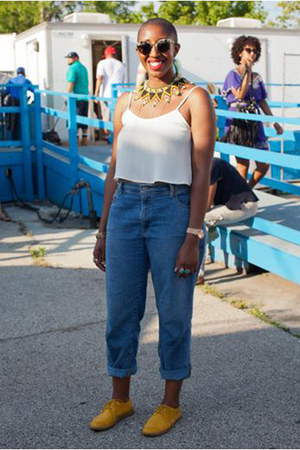 vintage necklace - Levis jeans - Super sunglasses - crop top Topshop top