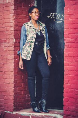 black leather fringe Zara boots - forest green camo  denim Topshop jacket