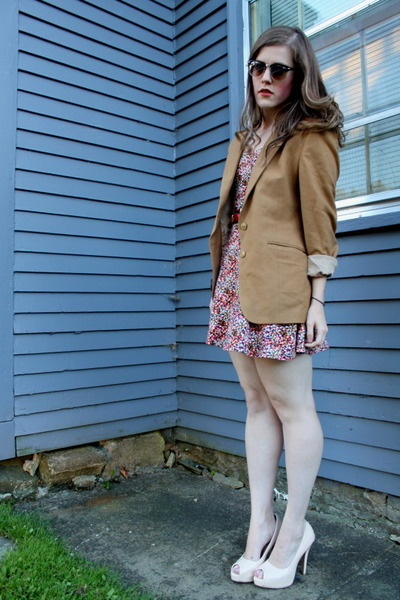 ruby red floral H&M dress - camel thrifted blazer - peach thrifted heels