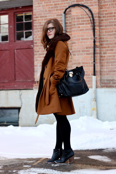 light brown vera moda coat - black Joe Fresh boots - black H&M dress