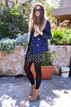 black sparrow print Love dress - navy vintage blazer