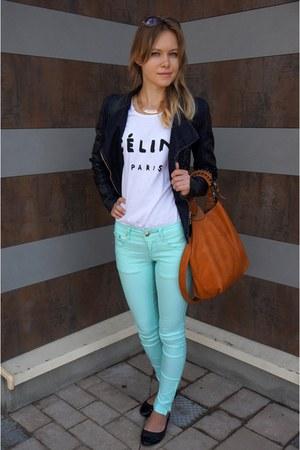navy NN coat - aquamarine allegro jeans - burnt orange allegro bag