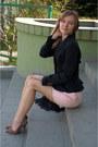 Black-zara-jacket-light-pink-attentif-skirt