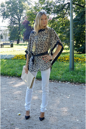 beige H&M bag - black new look heels