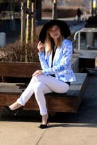 black River Island hat - blue Top Secret jacket - black Zara heels