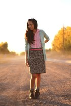 JCrew cardigan - blouse - JCrew belt - Anthropologie skirt - H&M boots