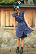 navy ruffled Forever 21 dress - black ankle Blowfish boots