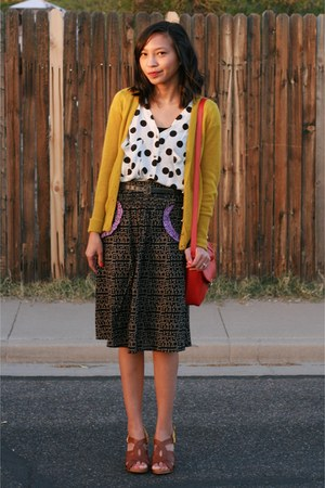 black Urban Outfitters skirt - ruby red Old Navy bag - white modcloth blouse